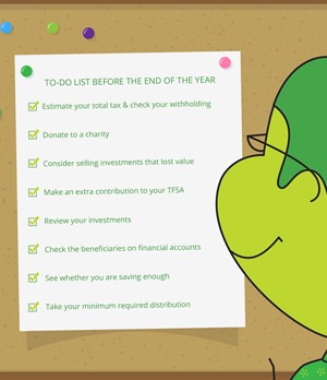 Checklist of things to do before the end of the tax year.